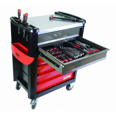 Composition travaux publics 149 outils en module mousse + servante 6 tiroirs servi-630n SAM - CPP149MMS