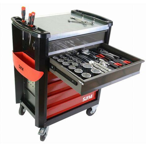 Composition travaux publics 255 outils en module mousse + servante 6 tiroirs servi-630n SAM - CPP255MMS