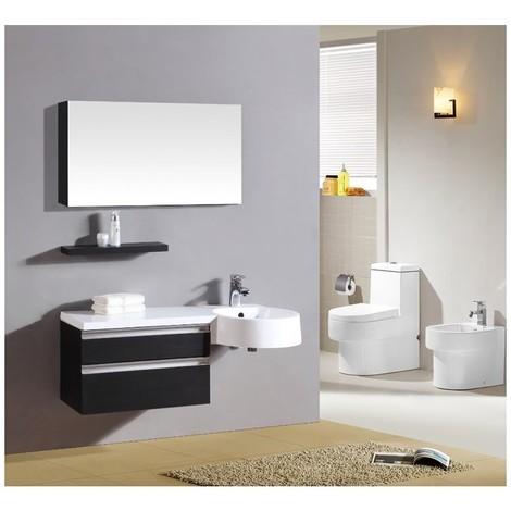 Composizione mobile bagno raffaello color nero 100cm