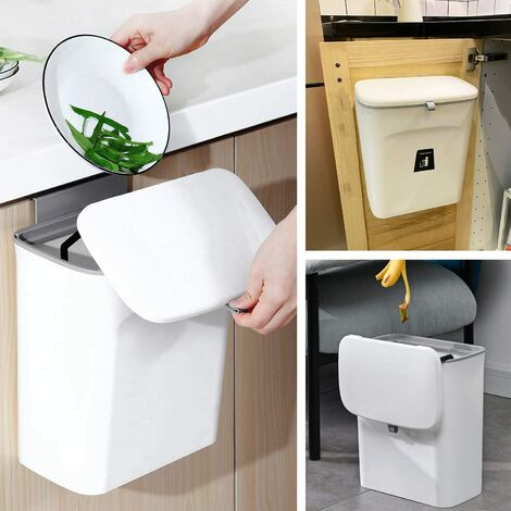 """main image of """"Compost Bin Indoor Kitchen Sealed with lid for Food Waste,Small Kitchen Trash Can with Lid,Hanging Trash Can for Kitchen Cabinet Door or Under Sink, 9L White"""""""