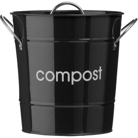 Compost Bin,Black Galvanised Steel (Powder Coated),Zinc Handles/Plastic Inner Bucket