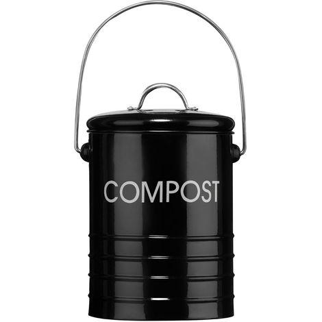 Compost Bin,Black,With Handle