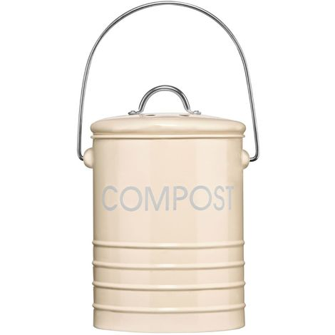 Compost Bin,Cream,With Handle