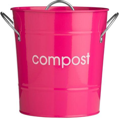 Compost Bin,Hot Pink Galvanised (Powder Coated),Zinc Handles/Plastic Inner Bucket