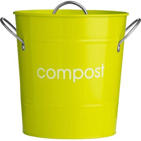 Compost Bin,Lime Green Galvanised Steel (Powder Coated),Zinc Handles/Plastic Inner Bucket