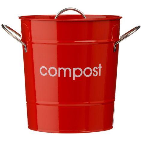 Compost Bin,Red Galvanised Steel (Powder Coated),Zinc Handles/Plastic Inner Bucket