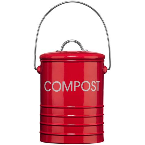 Compost Bin,Red,With Handle