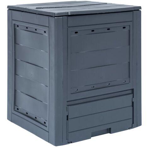 Compostador de jardín gris 60x60x73 cm 260 L