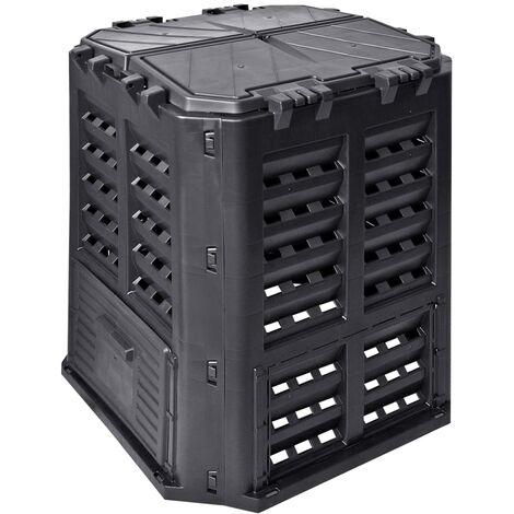 Compostador de jardín negro 68,9x68,9x83,9 cm 320 L