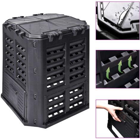 Compostador de jardín negro 68,9x68,9x83,9 cm 360 L - Negro