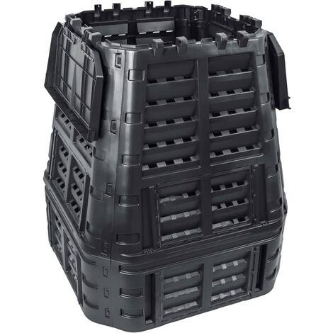 Compostador de jardín negro 93,3x93,3x113 cm 740 L