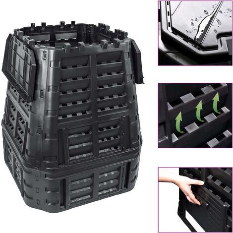 Compostador de jardín negro 93,3x93,3x113 cm 740 L - Negro