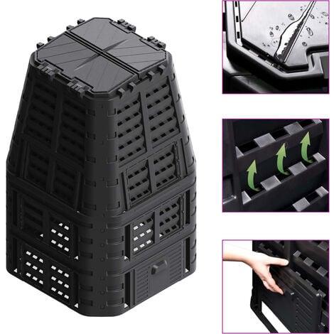 Compostador de jardín negro 93,3x93,3x146 cm 1000 L - Negro