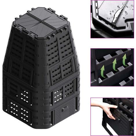 Compostador de jardín negro 93,3x93,3x146 cm 880 L
