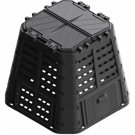 Compostador de jardín negro 93,3x93,3x80 cm 420 L