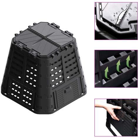 Compostador de jardín negro 93,3x93,3x80 cm 480 L - Negro