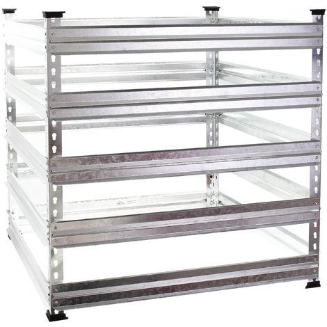 Compostador de metal para jardín 120 x 120 x 90 cm Hasta 1300 L Compostaje Reciclaje Bio residuos