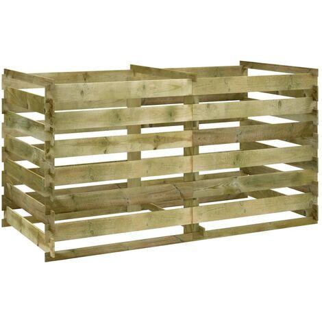 Compostador de tablas de madera de pino impregnada 160x80x58 cm