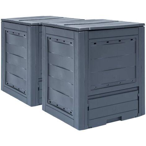 Compostadores de jardín 2 unidades gris 520 L 60x60x73 cm