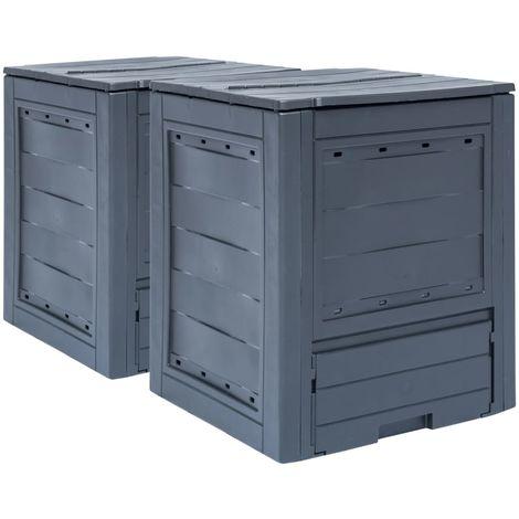 Compostadores de jardin 2 unidades gris 520 L 60x60x73 cm