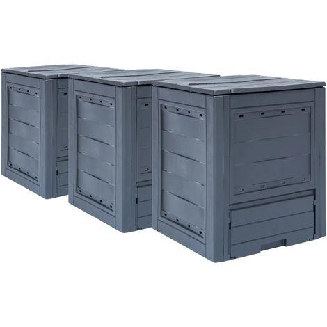 Compostadores de jardin 3 unidades gris 780 L 60x60x73 cm