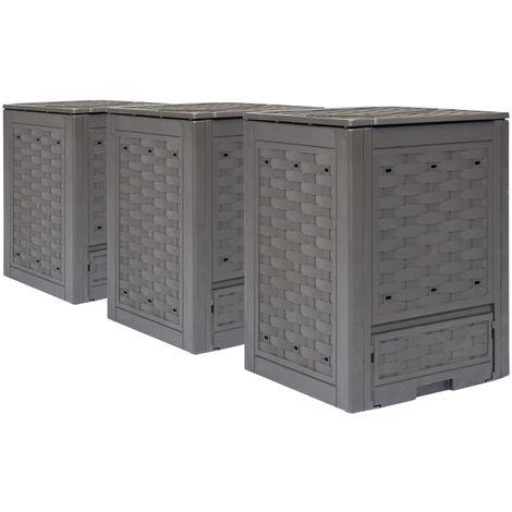 Compostadores de jardin 3 unidades marron 900 L 60x60x83 cm