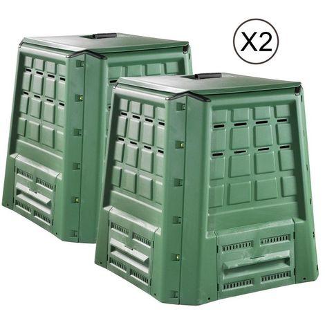 Composteur BIO 380L (lot de 2) - Vert Foncé - Vert Foncé