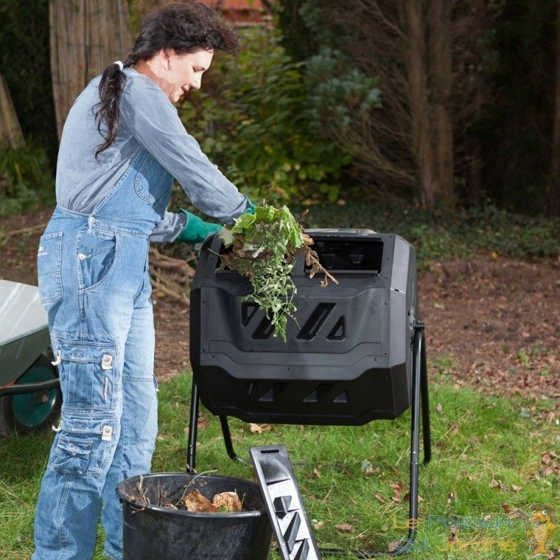 Le Poisson Qui Jardine - Composteur de 160 litres pour jardin. Système rotatif