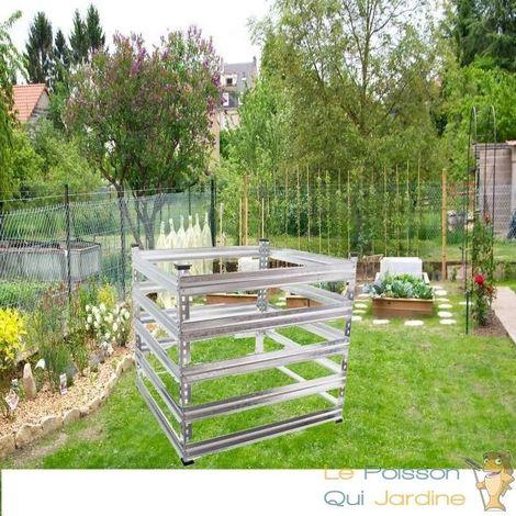 Composteur De 720 Litres Pour Jardin, En Métal, Carré, 90 x 90 cm