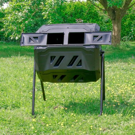 Composteur de Jardin 160L Noir sur Pieds - Bac à Compost Double Chambre Rotatif - Composteur de Jardin en Polypropylène Résistant