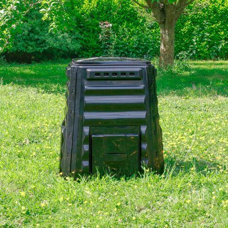Composteur de Jardin 220L Noir Polyéthylène - Bac à Composte Noir de Jardin, poubelle à compost HDPE - Composteur de Jardin pour déchets écologiques