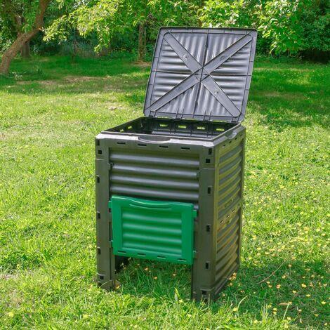 Composteur de Jardin 300L Vert Polypropylène - Bac à Composte Vert de Jardin, poubelle à compost en plastique - Composteur de Jardin pour déchets écologiques