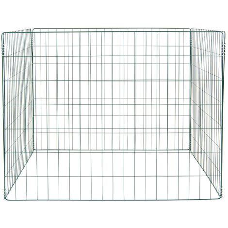 Composteur jardin en maille carré conteneur bac à compost en acier 90x90x70 cm
