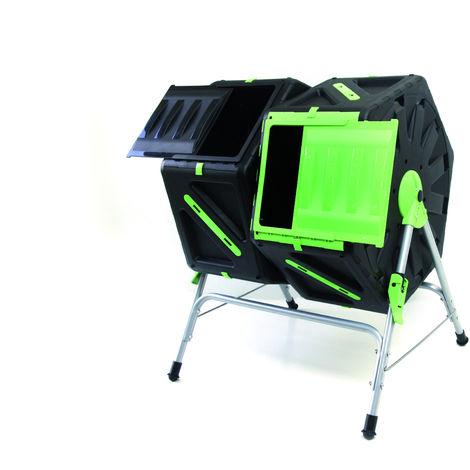 composteur rotatif 140L composé de 2 bacs 70L - Dimensions 65 x 60 x 82