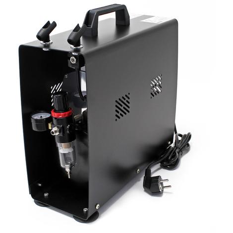 Compresor AS196A para aerografía con tanque de presión cilindro doble e interruptor de dos niveles