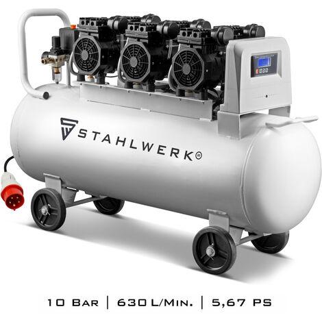 """main image of """"Compresor de aire comprimido STAHLWERK compresor silencioso ST 1010 pro - caldera de 100 L, 10 bar, marcha en seco, 630 L/min, muy silencioso, muy compacto, blanco, 7 años de garantía"""""""