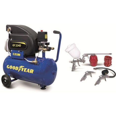 """main image of """"Compresor de aire electrico 2HP 8 bares de presión Capacidad 24 litros caudal 210 l/min con kit de aire comprimido GOODYEAR"""""""