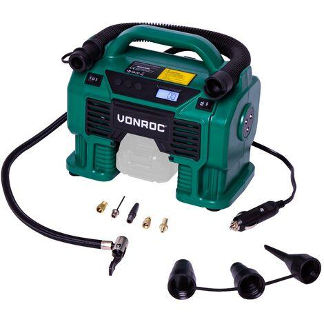 Compresor VONROC VPower 20V - Batería de 20V y enchufe de 12V para el encendedor de cigarrillos - 11 bar - Incl. 8 accesorios - Excluyendo batería y cargador