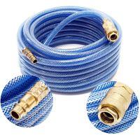 Compressed air hose, 10m length with quick coupling, compressor hose braided hose