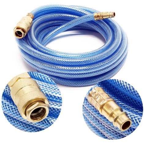 Compressed air hose, 5m length with quick coupling, compressor hose braided hose
