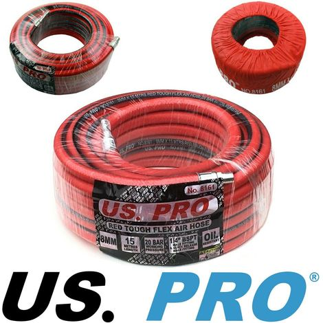 "COMPRESSED AIR LINE HOSE by US PRO TOOLS 15m x 8mm Tough & Flexible 1/4"" Ends"