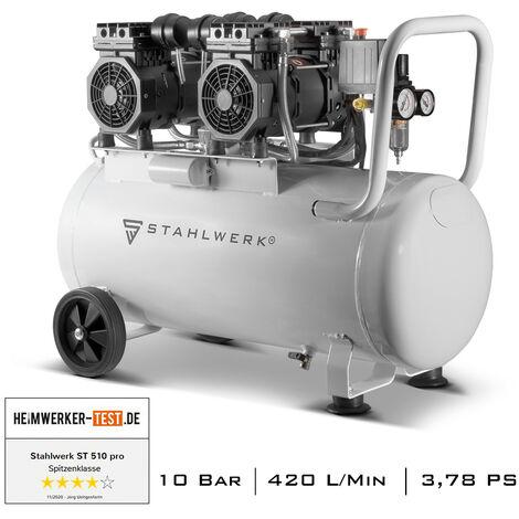 Compresseur à air comprimé STAHLWERK ST 510 pro - chaudière 50 L, 10 Bar, sans huile, très silencieux, très compact, blanc, 7 ans de garantie constructeur