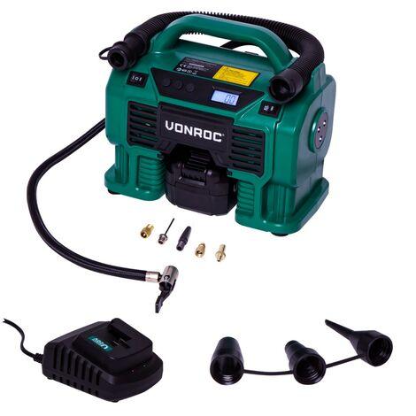 Compresseur à batterie 20V et prise allume-cigare 12V VPower – 11 bar - 1 Batterie 4.0Ah, chargeur de batterie et 8 accessoires inclus