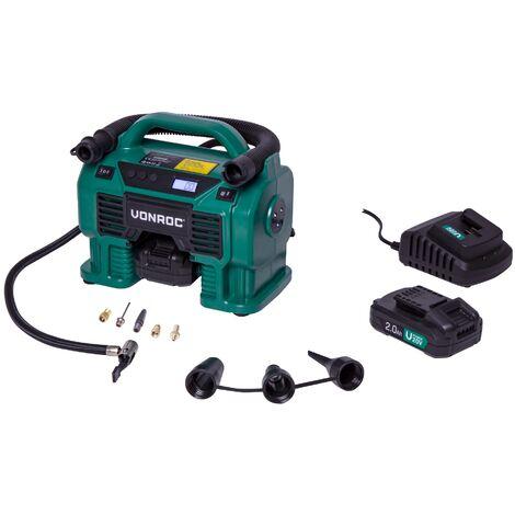 Compresseur à batterie 20V et prise allume-cigare 12V VPower – 11 bar - 2 batteries 2.0Ah, chargeur de batterie et 8 Accessoires inclus