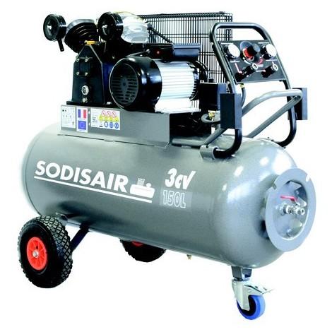 Compresseur à courroie sur roues 150 Litres 400V SODISAIR - S11272