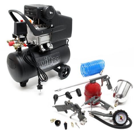 Compresseur Air comprimé 24L Set 13 pcs. Outil pneumatique Manomètre pneus Pistolet de pulvérisation