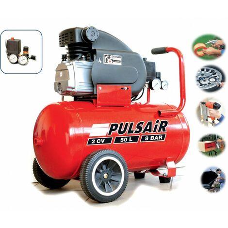 Compresseur avec cuve 50l 2cv pression max 8bar débit d'air aspiré 210l/m
