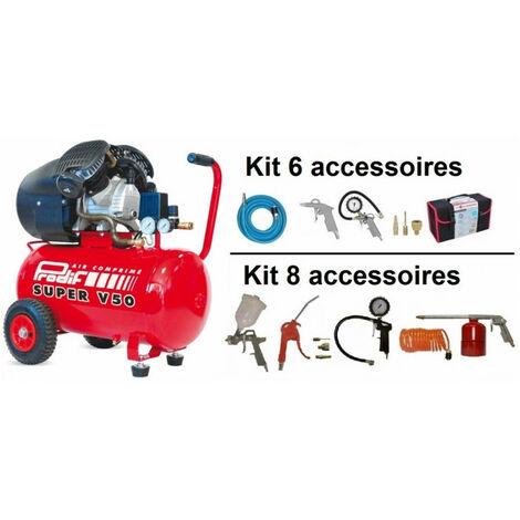 Compresseur coaxial 50L + accessoires T950 PRODIF pour gonfler, souffler, agrafer, clouer, peindre, buriner, percer, ... - plusieurs modèles disponibles