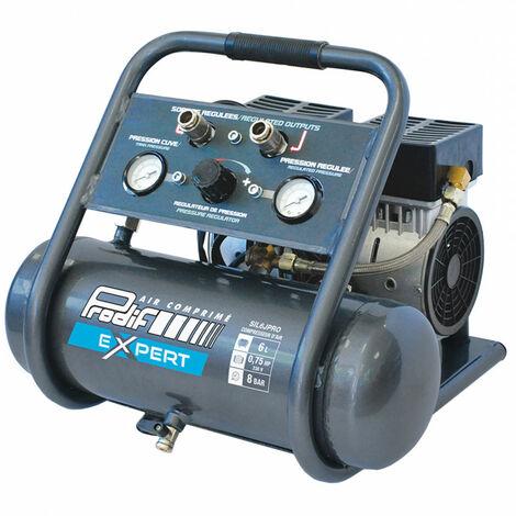 Compresseur coaxial silencieux 6L pour gonfler, souffler, agrafer, clouer SIL6JPRO avec démonstration PRODIF