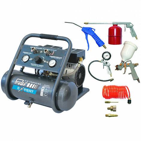 Compresseur coaxial silencieux 6L SIL6JPRO + Kit 8 accessoires raccords rapides pour peindre, gonfler, souffler, pulvériser PRODIF